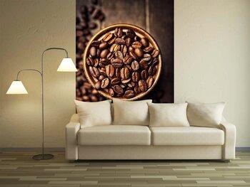Фотообои на стену Кофе в зернах на деревянной  старинной таблице.